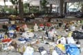 Trash and liquid containers are strewn all over PolyU. Photo: Dickson Lee