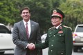 US Defence Secretary Mark Esper and Vietnamese Defence Minister Ngo Xuan Lich meet in Hanoi on November 20, 2019. Photo: AP