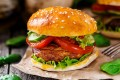A vegetarian burger with grilled champignon, tomato and cucumber. Photo: Alamy