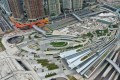 Aerial drone view of the Hong Kong High Speed Rail Station, West Kowloon Train Station in Kowloon. Photo: Roy Issa