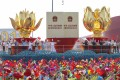 Floats themed on the Hong Kong and Macau handovers, at a parade to celebrate the 70th anniversary of the founding of the People's Republic of China, in Beijing on October 1. Photo: Simon Song