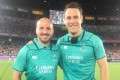 Tim Baker (left) joins old friend Ben O'Keefe in officiating for the Japan vs Scotland match at the 2019 Rugby World Cup. Photo: Handout