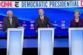 Democratic presidential hopefuls Bernie Sanders, Joe Biden and Elizabeth Warren at a 2020 election debate in Westerville, Ohio, on October 15. Photo: Reuters