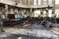 Debris seen inside a church attacked by two suicide bombers in Sulu, Philippines, on January 27, 2019. Photo: EPA-EFE
