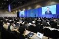 South Korean President Moon Jae-in speaks in Busan on Monday. Photo: EPA-EFE