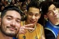 Jeremy Lin (centre) at his celebrity charity game with Godfrey Gao (left) and Jay Chou (right).