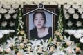 A portrait of late K-pop star Goo Hara is seen at a memorial altar at a hospital in Seoul on November 25. Photo: STR/Dong-A Ilbo/AFP