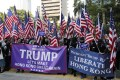 Rallyists wave American flags as they march to US Consulate to thank President Donald Trump. Photo: AP