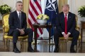US President Donald Trump (right) met with Nato secretary general Jens Stoltenberg in London. Photo: AP