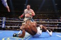 Andy Ruiz Jnr knocks down Anthony Joshua in the third round of their first heavyweight title fight at Madison Square Garden in June. Photo: AFP
