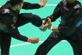 Action from the Pencak Silat at the Asian Games 2018 between Komang Harik Adi Putra (left) of Indonesia and Malaysia's Mohd Al-Jufferi Jamari. Photo: Xinhua