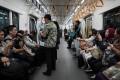 Passengers on board a Jakarta Mass Rapid Transit train. Photo: Bloomberg