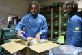 Everton players Moise Kean and Alex Iwobi visit the North Liverpool Food Bank as part of the club's efforts to offer support in the fight against poverty in Merseyside. Photo: Tony McArdle/Everton FC via Getty Images