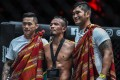 Martin Nguyen (left) and Aung La N Sang celebrate with Tial Thang. Photos: One Championship