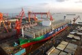 CMA CGM Group's 23,000 TEU LNG-powered container ship, Jacques Saade, is seen being built at the Shanghai Jiangnan-Changxing Shipyard in Shanghai. Photo: Handout