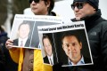 Supporters call for the release of Michael Spavor and Michael Kovrig outside a court hearing for Meng Wanzhou in Vancouver earlier this year. Photo: Reuters