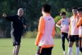 Coach Mixu Paatelainen with the Hong Kong football team during training at the Tseung Kwan O Football Training Centre. Photo: Edmond So