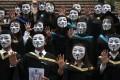 Graduates join a flash mob protest at Polytechnic University in Hung Hom. Photo: Sam Tsang