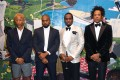 """(From left) Pharrell Williams, Kanye West, Sean """"Diddy"""" Combs and Jay-Z attend Combs' 50th birthday party on December 14. Photo: Getty Images"""