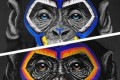The three monkeys, created by artist Simone Fugazzotto, representing people in the anti-racism campaign. Photo: Handout