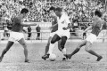 Pele (in white), of the Brazilian football team Santos, in action against the Hong Kong League XI at the Hong Kong Stadium, on December 13, 1970. Photo: SCMP
