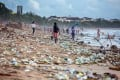 Plastic waste lines Kuta beach, on the Indonesian resort island of Bali, in 2017. Photo: Shutterstock