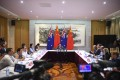 Cheng Jingye addresses media during the press conference at his residence in Canberra on Thursday. Photo: EPA-EFE