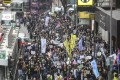 Social workers march from Central to Wan Chai on Thursday. Photo: K.Y. Cheng
