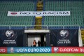 A banner reading 'No to racism' is displayed on the stands before a Euro 2020 qualifier between Bulgaria and Czech Republic in Sofia. Photo: AFP