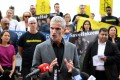 Former Socceroo Craig Foster speaks at a rally in support of Hakeem al-Araibi in February. Photo: EPA