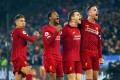 Liverpool players celebrate during the English Premier League win over Leicester City at the King Power Stadium. Photo: EPA