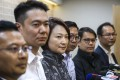 Starry Lee, Democratic Alliance for the Betterment and Progress of Hong Kong chairwoman (centre) meets members of the press with other party members the day after the district council elections. Photo: Robert Ng