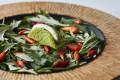 """Sea lettuce"" seaweed joins bitter melon, Okinawa pepper and more Japanese mugwort in a dorayaki pancake-like starter. Photo: Halekulani Hotel"