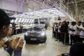 A Tesla Inc. Model 3 vehicle set to be delivered to a company employee moves off an assembly line during a ceremony at the company's Gigafactory in Shanghai on Monday, December 30, 2019. Photo: Bloomberg
