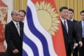 Kiribati's President Taneti Maamau and Chinese President Xi Jinping at a welcoming ceremony at the Great Hall of the People in Beijing on Monday. Photo: Reuters