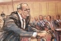 A courtroom sketch shows film producer Harvey Weinstein leaning on his walker in court in New York on the first day of his sexual assault trial on Monday. Image: Jane Rosenberg via Reuters