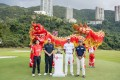 Tony Finau (second from right) with (from left) Hong Kong's Terence Ng, Ireland's Shane Lowry and India's Shiv Kapur ahead of the Hong Kong Open at Fanling. Photo: Ike Li / Ike Images
