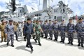 Indonesian President Joko Widodo inspects troops during his visit to the Natuna Islands on January 8. Photo: AP