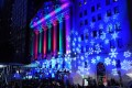 The New York Stock Exchange all dressed up in Christmas colours with nowhere to go but up, as Trump would have us believe. Photo: AFP