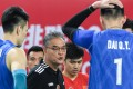 China's head coach Shen Fulin (centre) gives instructions to his players during the Tokyo 2020 qualifying final against Iran. Photo: Xinhua