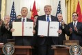 Chinese Vice-Premier Liu He signed a partial trade agreement with US President Donald Trump on Wednesday. Photo: DPA