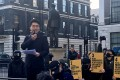 Simon Cheng addresses a crowd protesting outside the Chinese embassy in London on Sunday. Photo: Stuart Lau