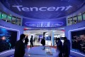Visitors check out internet giant Tencent Holdings' booth at the World 5G Exhibition in Beijing on November 22, 2019. Photo: Reuters