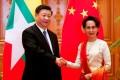 Xi Jinping and Aung San Suu Kyi in the Myanmar capital Naypyidaw. Photo: AFP