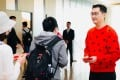 Tencent Holdings chairman and chief executive Pony Ma Huateng hands out red packets to employees for Lunar New Year in 2019. Photo: Handout
