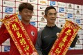 Hong Kong coach Cheung Kin-fung (left) and League Selection XI counterpart Liu Chun-fai promoting the Lunar New Year before it was cancelled on Thursday night. Photo: Chan Kin-wa