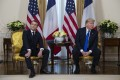 French President Emmanuel Macron and US President Donald Trump meet at Winfield House in London on December 3. They have agreed a truce in a spat about taxing Big Tech. Photo: AP