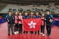 Hong Kong table tennis players Minnie Soo (second left), Doo Hoi-kem and Lee Ho-ching (second right) with their coaches. Photo: HKTTA