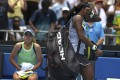 Coco Gauff is in tears as she walks from the court following her fourth round loss to compatriot Sofia Kenin. Photo: AP