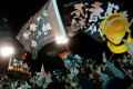 Hong Kong's anti-government protesters attend a rally held by incumbent Taiwan President Tsai Ing-wen after her election victory on January 11. Photo: Reuters